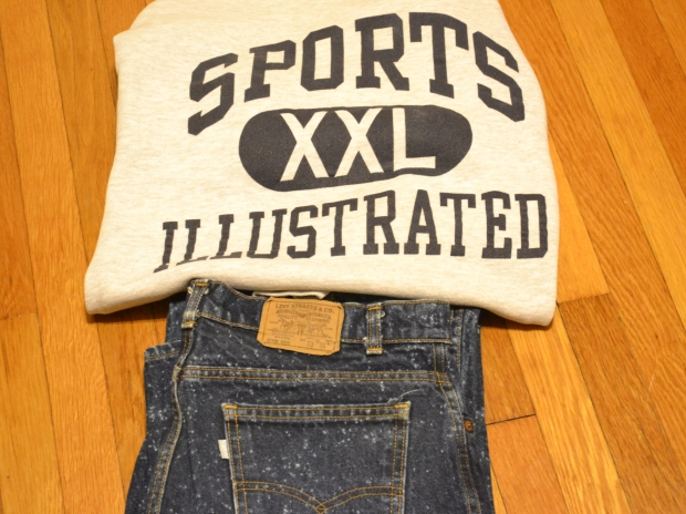 Levi's silvertab jeans and Sports Illustrated crewneck