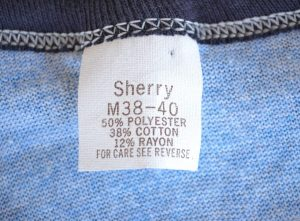 Vintage tri-blend t-shirt tag