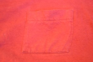 Exterior of pocket on vintage Fruit of the Loom t-shirt