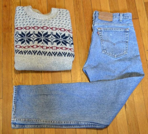 Chunky Sweater with vintage Levi's 501s