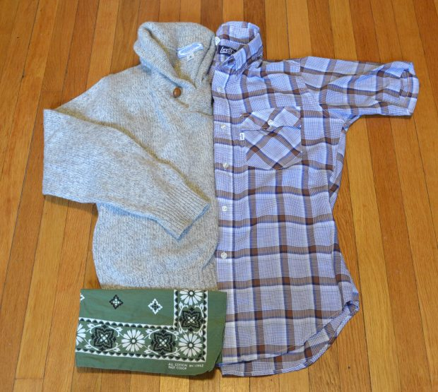 Vintage Shawl Collar Sweater with Levi's Shirt